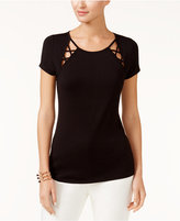 INC International Concepts Short-Sleeve Lattice-Inset T-Shirt, Only at Macy's
