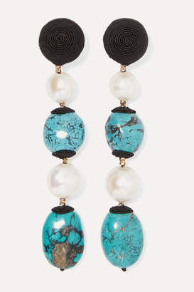 Rebecca De Ravenel Long Treasures Gold-plated, Cord, Turquoise And Pearl Clip Earrings