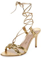 Aperlaï Metallic Leather Lace-Up Sandal