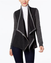 INC International Concepts Draped Faux-Leather-Trim Cardigan, Only at Macy's