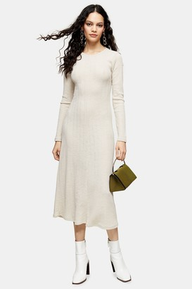 Topshop Cream Open Back Midi Dress