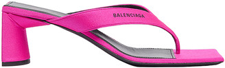 Balenciaga Logo Double Square Sandals in Lipstick Pink & Black | FWRD