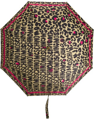 Moschino Logo Leopard Print Umbrella