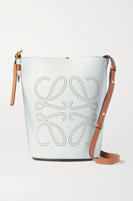 Loewe Gate Perforated Two-tone Leather Bucket Bag - Brown