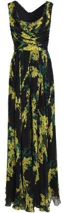 Dolce & Gabbana Wrap-Effect Floral-Print Silk-Chiffon Gown