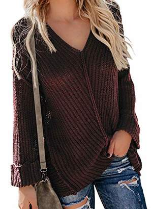 Actloe Women V Neck Long Cuffed Sleeve Knit Sweater Casual Pullovers