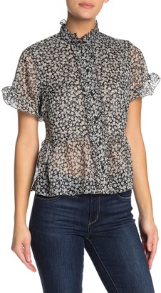 French Connection Elvire Lawn Short Sleeve Ruffle Blouse