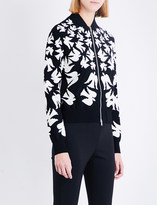 Alexander McQueen Swallow-intarsia knitted bomber jacket