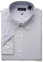Nautica Men's Classic Performance Striped Button Down Collar Dress Shirt
