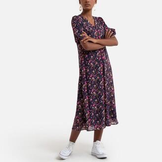 Vero Moda Printed Smock Midi Dress with V-Neck and Short Sleeves