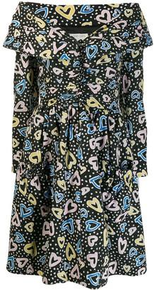 Victor Costa Vintage 1980's Floral Flared Dress