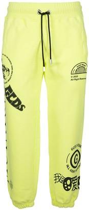 GCDS Neon Yellow Cotton Track Pants