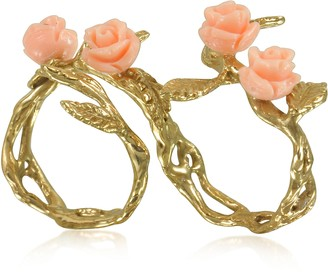 Two Fingers Leafy Bronze Ring w/4 Pink Resin Roses