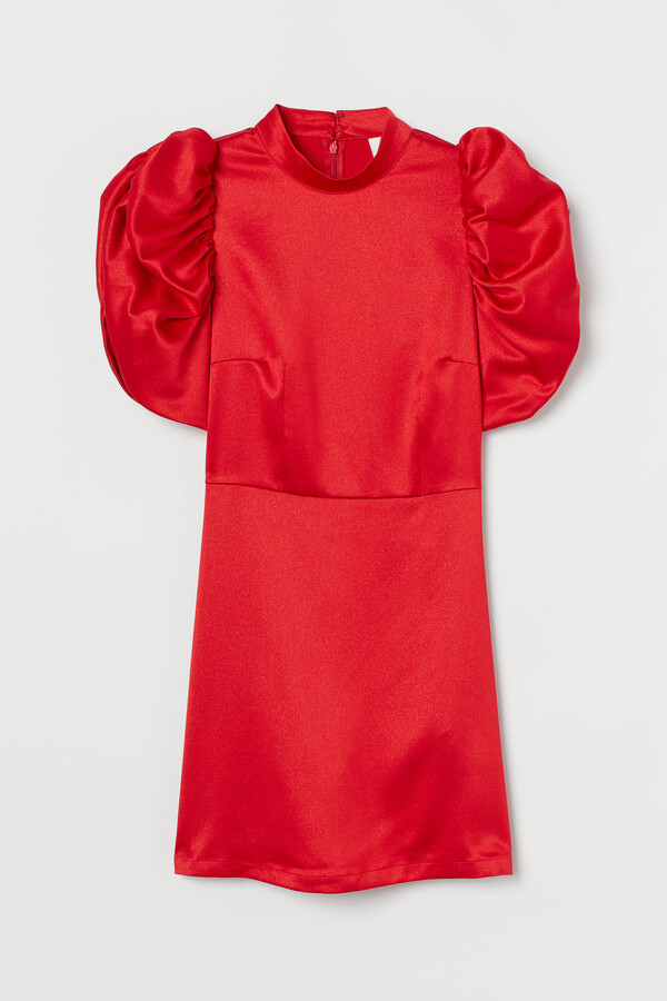 Thumbnail for your product : H&M Puff-sleeved satin dress