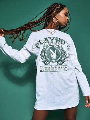 Missguided Playboy Varsity Bunny Long Sleeve T Shirt Dress - Grey Marl
