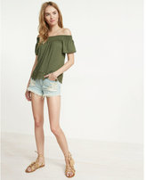 Express lace trim off the shoulder tee