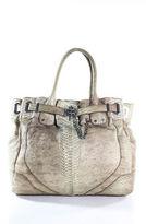 Rachel Zoe Brown Ivory Python Skin Magnet Closure Large Shoulder Handbag