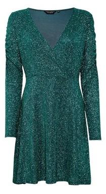 Dorothy Perkins Womens **Emerald Green Glitter Skater Dress, Green