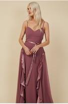 Thumbnail for your product : Little Mistress Bridesmaid Mariah Mauve Draped Frill Maxi Dress