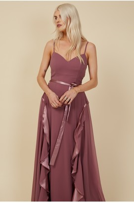Little Mistress Bridesmaid Mariah Mauve Draped Frill Maxi Dress