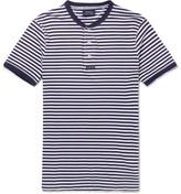 Polo Ralph Lauren Striped Cotton-jersey Henley T-shirt - Blue