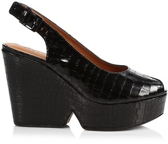 Clergerie Dylan 4 Croc-Embossed Leather Slingback Wedges