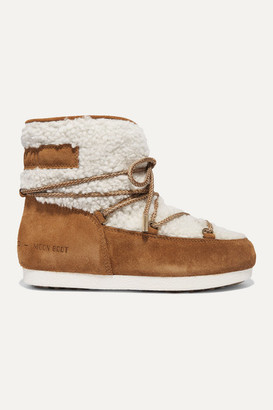 Moon Boot Suede And Shearling Ankle Boots - Tan