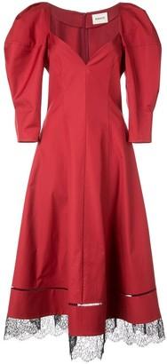 KHAITE Puff Sleeve Lace Hem Dress