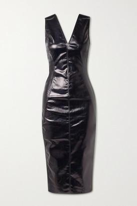 Rick Owens Coated Cotton-blend Midi Dress - Black