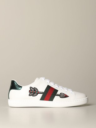 Gucci Ace Leather Sneakers With Arrow Patch