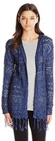It's Our Time Juniors Drop Shoulder Hooded Open Front Cardigan Sweater