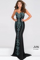 Jovani Strapless Jersey Fitted Prom Dress with Teal Beading JVN49357