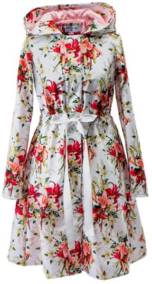 Rainsisters Belted White Breathable Raincoat With Bright Lilies: Wite Lily