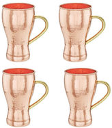Old Dutch 14 Oz Hammered Solid Copper Soda Fountain Style Moscow Mule MugsSet of 4
