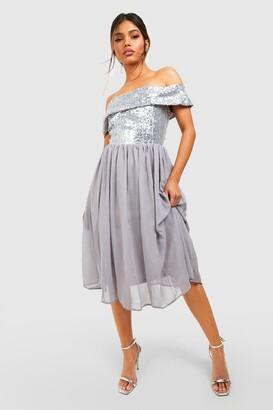 boohoo Bridesmaid Occasion Sequin Bardot Midi Dress