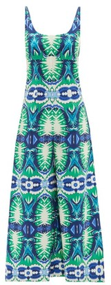 Le Sirenuse, Positano - Cindy Fish Tail-print Cotton-poplin Jumpsuit - Green Print