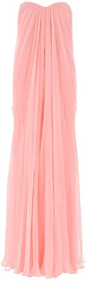 Alexander McQueen Strapless Draped Maxi Dress