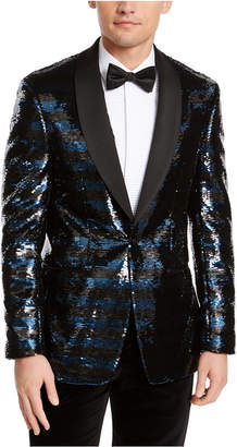 Tallia Men Slim-Fit Navy Blue/Black Stripe Sequined Dinner Jacket