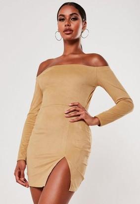 Missguided Faux Suede Side Split Bardot Mini Dress