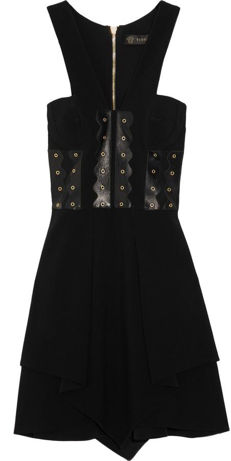 Versace Leather-paneled cady dress