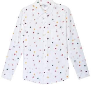 Rails White Silk Kate Star Rainbow Shirt - small | silk | white - White/White