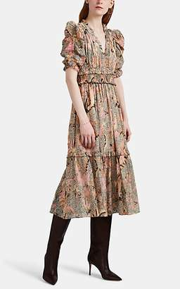 Ulla Johnson Women's Claudette Floral Chiffon Dress - Beige, Tan
