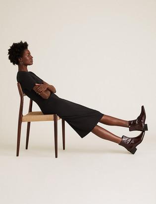 Marks and Spencer Jersey V-Neck Knee Length Tailored Dress