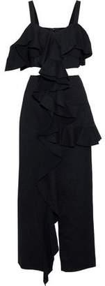 Proenza Schouler Mesh-paneled Cutout Cotton-blend Jacquard Maxi Dress