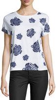 Kenzo Allover Tiger-Print T-Shirt, White/Blue