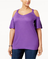INC International Concepts Plus Size Cold-Shoulder T-Shirt, Only at Macy's