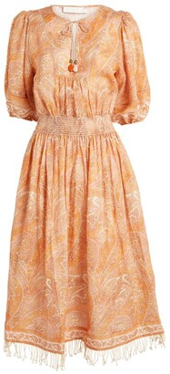 Zimmermann Paisley Brighton Shirred-Waist Midi Dress