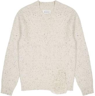 Maison Margiela Off-white distressed wool-blend jumper