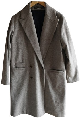 Les Prairies de Paris Grey Wool Coat for Women