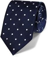 Charles Tyrwhitt Navy and white silk classic spot tie